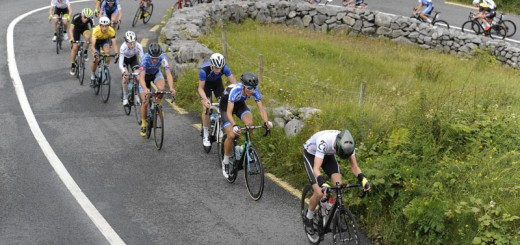15 July 2016; A general view of the action as the peloton ascend the Category 1 climb of Corkscrew Hill during Stage 4 of the 2016 Scott Bicycles Junior Tour of Ireland, Ballyvaughan, Co. Clare. Picture credit: Stephen McMahon/SPORTSFILE