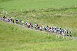 12 July 2017; A general view of the peloton on the ascent of the category one climb of Castle Hill during Stage 2 of the Scott Junior Tour 2017 at Ennis, Co. Clare. Photo by Stephen McMahon/Sportsfile