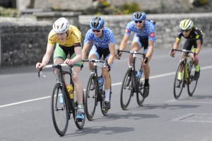 12 July 2017; Race leader Ben Walsh of Ireland National Team leads a breakaway during Stage 2 of the Scott Junior Tour 2017 at Ennis, Co. Clare. Photo by Stephen McMahon/Sportsfile