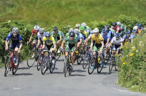 12 July 2017; A general view of the peloton on the category one climb of Castle Hill during Stage 2 of the Scott Junior Tour 2017 at Doonagore, Co. Clare. Photo by Stephen McMahon/Sportsfile *** NO REPRODUCTION FEE ***