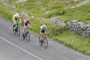 14 July 2017; Rickardo Broxham of South Africa leads the breakaway as the race passes through the Burren during Stage 4 of the Scott Junior Tour 2017 at the Wild Atlantic Way, Co Clare. Photo by Stephen McMahon/Sportsfile *** NO REPRODUCTION FEE ***