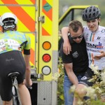 14 July 2017; Neil Curley of NRPT Titan Containers after being involved in a crash during Stage 4 of the Scott Junior Tour 2017 at the Wild Atlantic Way, Co Clare. Photo by Stephen McMahon/Sportsfile *** NO REPRODUCTION FEE ***