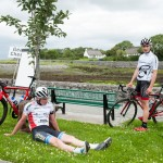 14 July 2017; Eoghan McLoughlin of Connacht Team and Michael Hall of Swinerton Cycles after the finish of Stage 4 of the Scott Junior Tour 2017 at the Wild Atlantic Way, Co Clare. Photo by Stephen McMahon/Sportsfile *** NO REPRODUCTION FEE ***