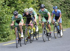 14 July 2017; Dillon Corkery of Ireland National Team leads the breakaway during Stage 4 of the Scott Junior Tour 2017 at the Wild Atlantic Way, Co Clare. Photo by Stephen McMahon/Sportsfile *** NO REPRODUCTION FEE ***