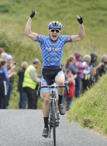 15 July 2017; Lane Maher of Hot Tubes after winning Stage 5 of the Scott Junior Tour 2017 at Gallows Hill, Co Clare. Photo by Stephen McMahon/Sportsfile *** NO REPRODUCTION FEE ***