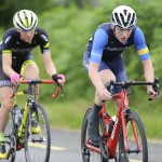 15 July 2017; Eoghan McLoughlin of Connacht Team leads Conor Schunk of Hincapie Development Team during Stage 5 of the Scott Junior Tour 2017 at Gallows Hill, Co Clare. Photo by Stephen McMahon/Sportsfile *** NO REPRODUCTION FEE ***