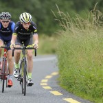 15 July 2017; Michael Garrison of Hincapie Development Team leads Conor Gallagher of Connacht Team during Stage 5 of the Scott Junior Tour 2017 at Gallows Hill, Co Clare. Photo by Stephen McMahon/Sportsfile *** NO REPRODUCTION FEE ***