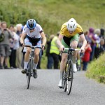 15 July 2017; Race leader Ben Walsh of Ireland National Team leads Gaelen Kilburn of Hot Tubes on the approach to the finish of Stage 5 of the Scott Junior Tour 2017 at Gallows Hill, Co Clare. Photo by Stephen McMahon/Sportsfile *** NO REPRODUCTION FEE ***